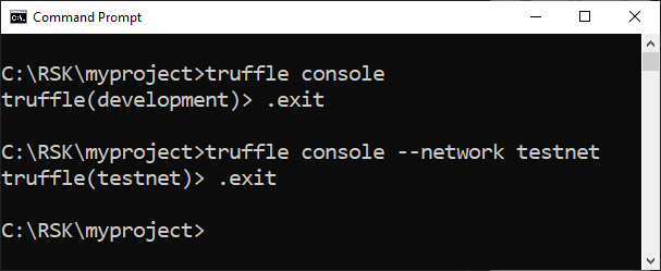 exit Truffle console